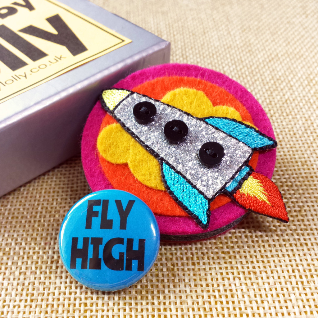 Fly High Pink and Orange Rocket brooch IG